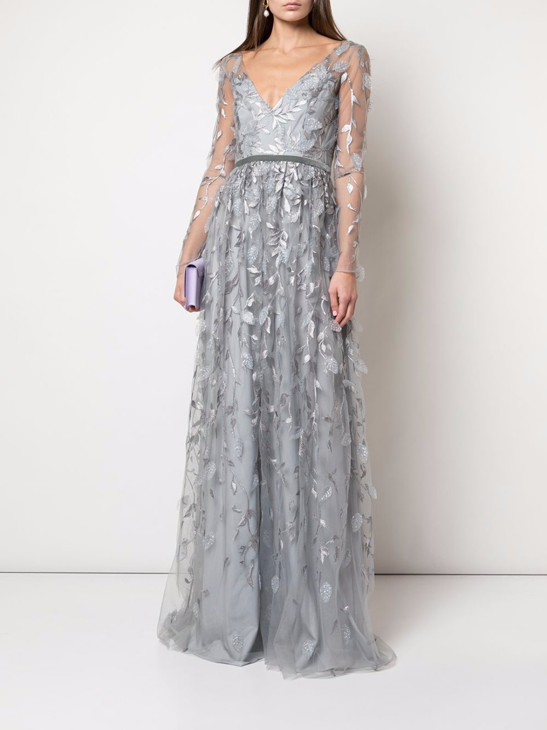 Metallic Leaf Embroidered Gown