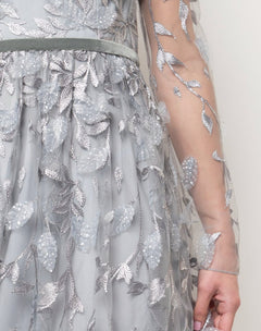 Load image into Gallery viewer, Metallic Leaf Embroidered Gown