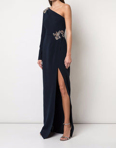 Load image into Gallery viewer, Beaded Stretch Crepe Gown
