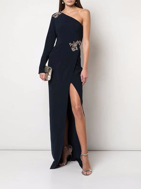 Beaded Stretch Crepe Gown
