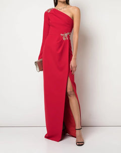Load image into Gallery viewer, One Shoulder Beaded Stretch Crepe Gown
