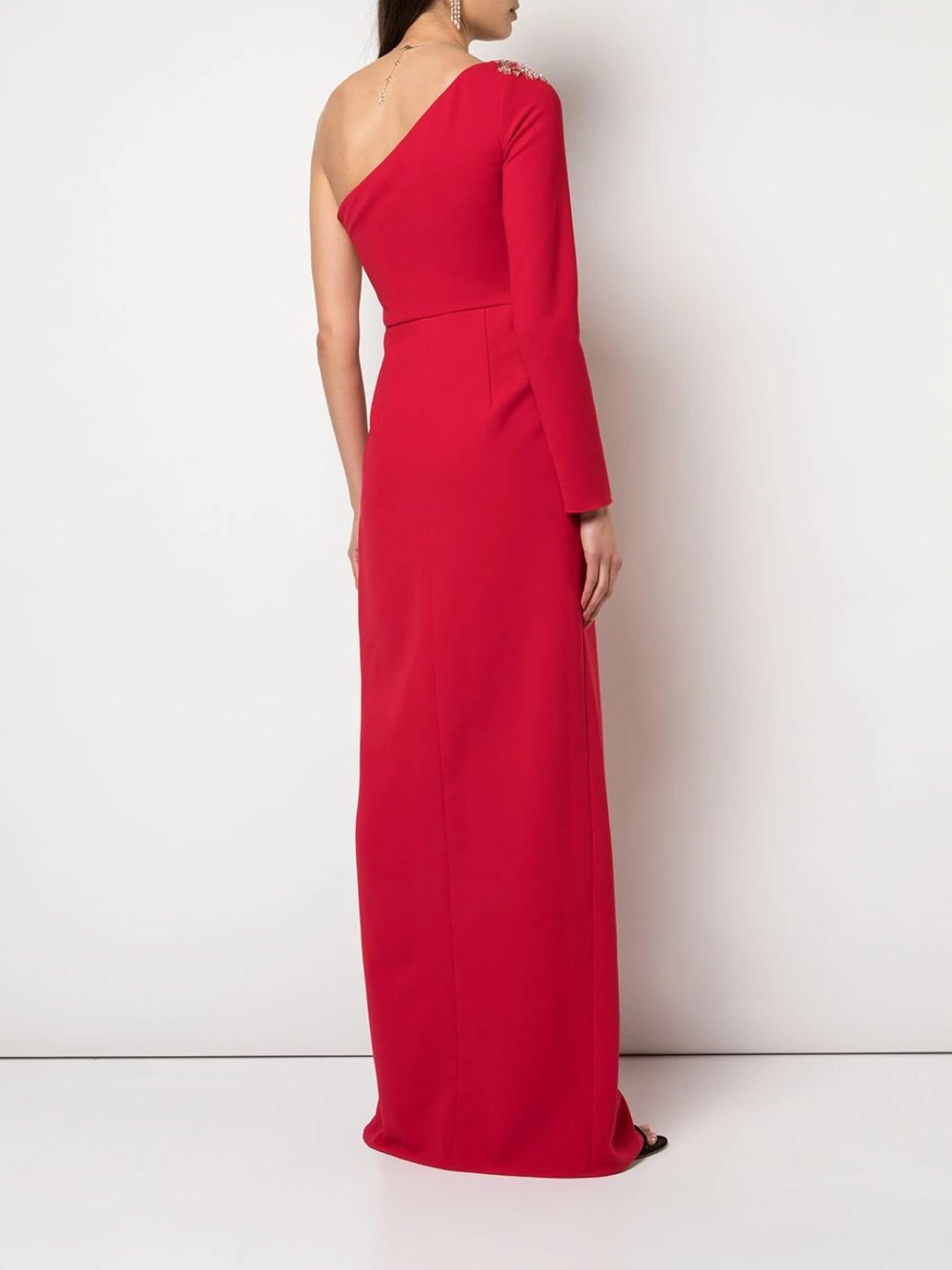 One Shoulder Beaded Stretch Crepe Gown