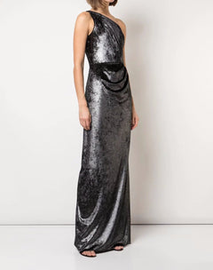 Load image into Gallery viewer, Draped Metallic Lame Gown