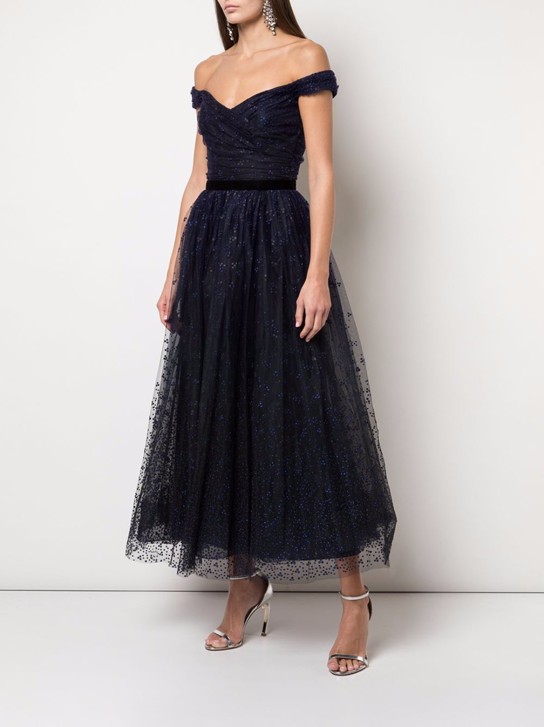 Draped Corseted Sequin Tea Length
