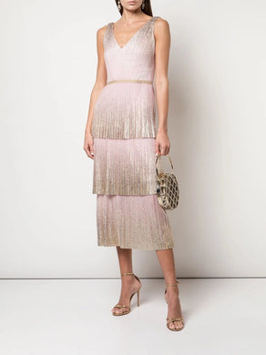 V-Neck Pleated Foil Tiered Cocktail Dress