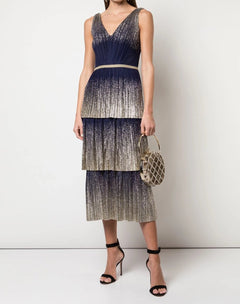 Load image into Gallery viewer, V-Neck Pleated Foil Tiered Cocktail Dress