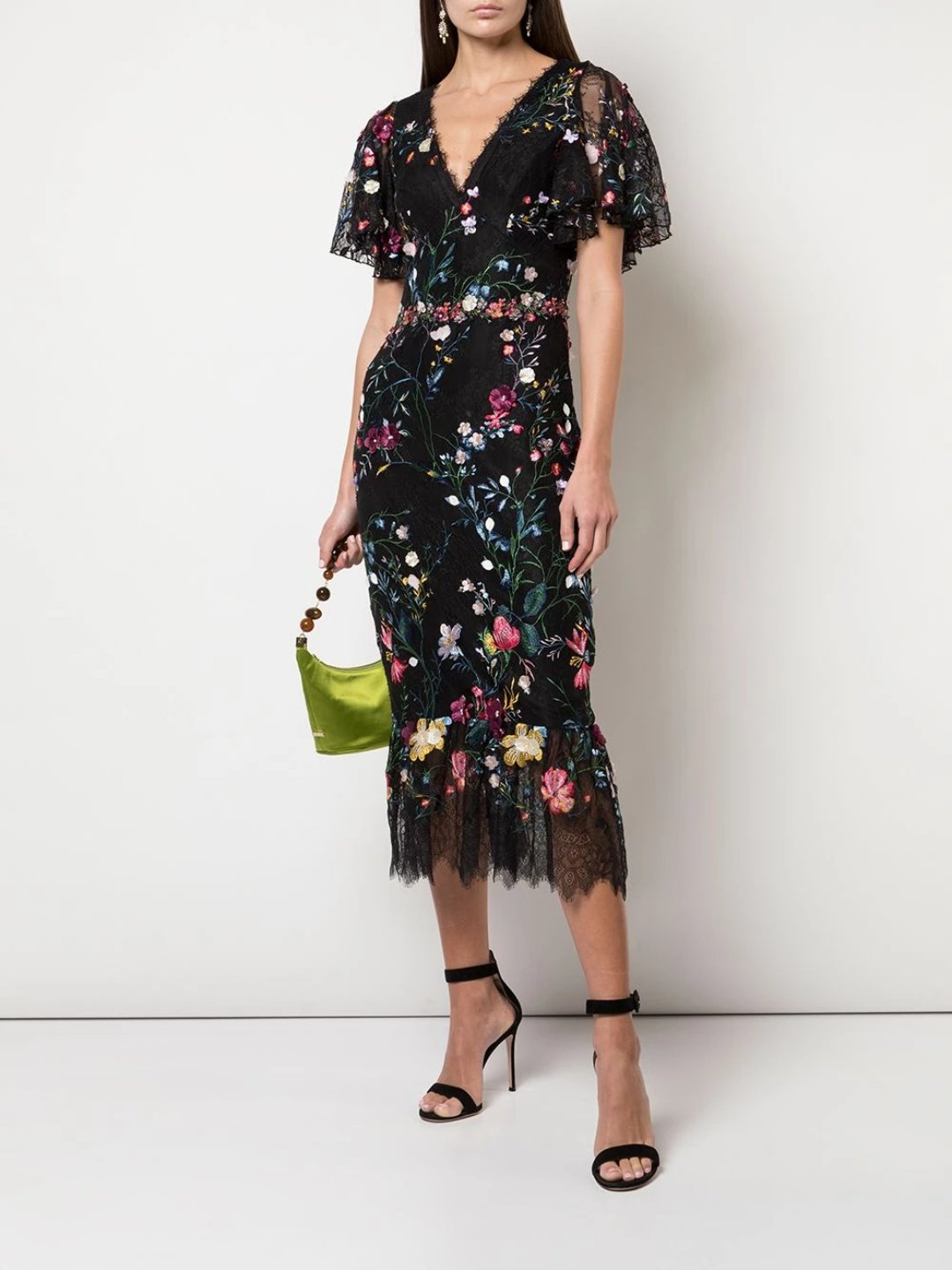 V-Neck 3D Floral Embroidered Tulle Cocktail Dress