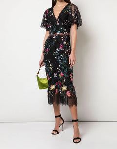 Load image into Gallery viewer, V-Neck 3D Floral Embroidered Tulle Cocktail Dress