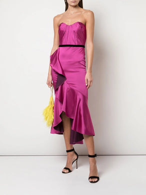 Draped Hi Lo Ruffle Cocktail Dress