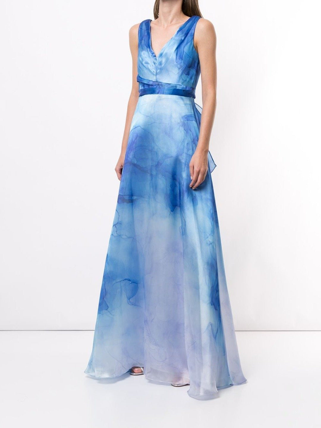 V-Neck Printed Organza Gown