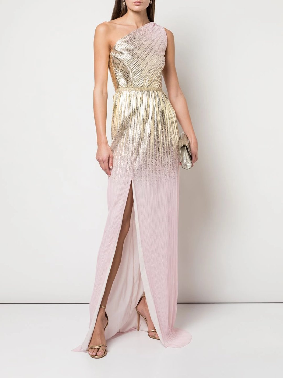 One-Shoulder Pleated Foil Gown