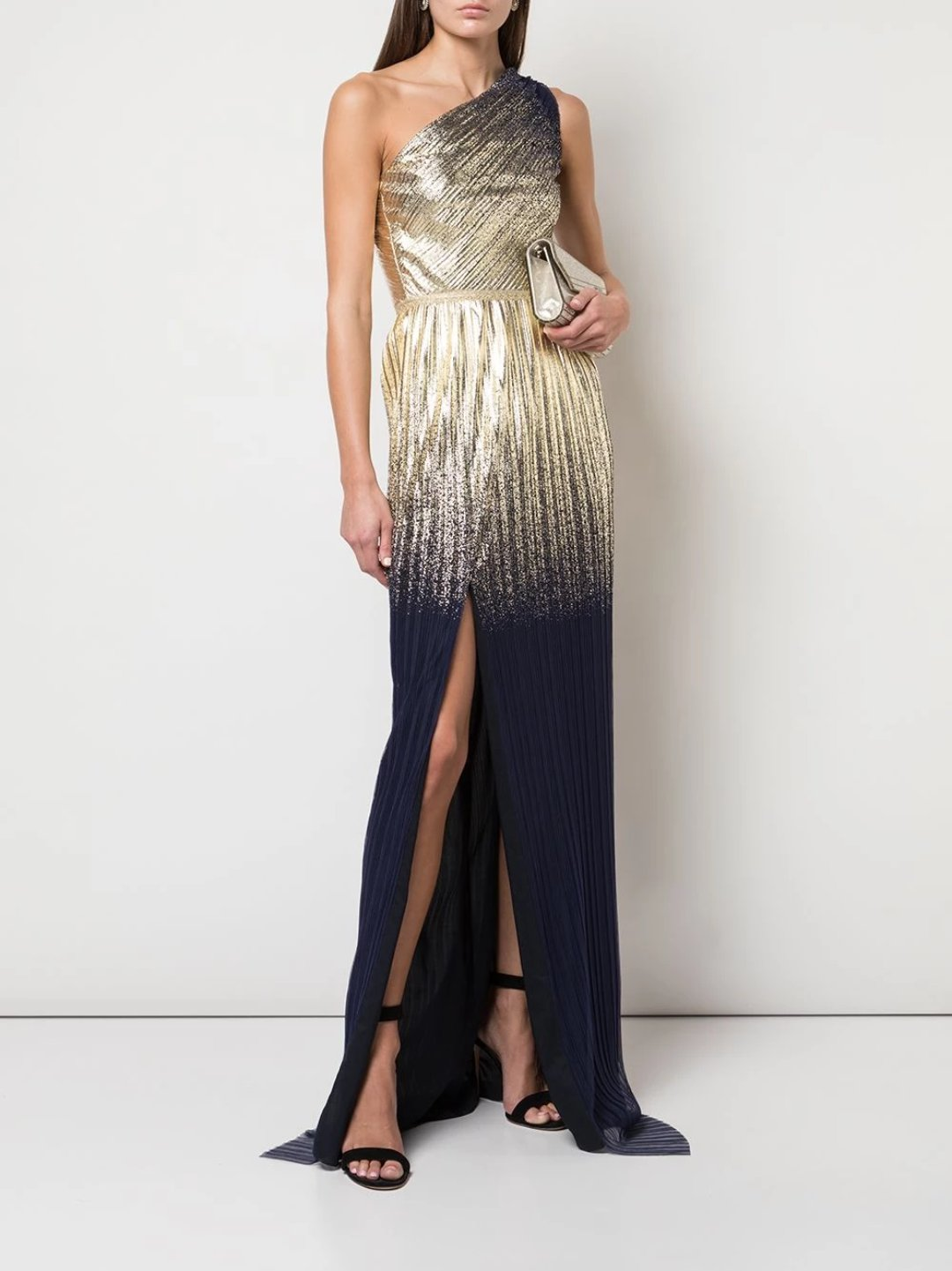 One Shoulder Pleated Foil Gown
