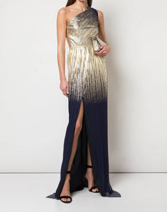 Load image into Gallery viewer, One Shoulder Pleated Foil Gown