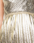 Load image into Gallery viewer, One-Shoulder Pleated Foil Gown