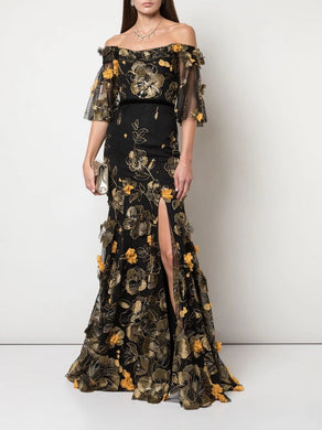 Flutter Sleeve Fit-to-Flare Gown