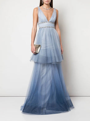 V-Neck Two Tiered Ombre Gown