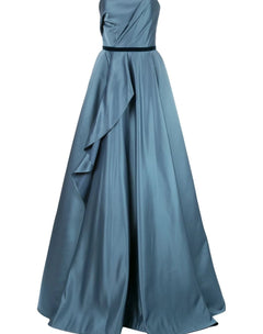 Load image into Gallery viewer, Strapless Satin Draped Ball Gown