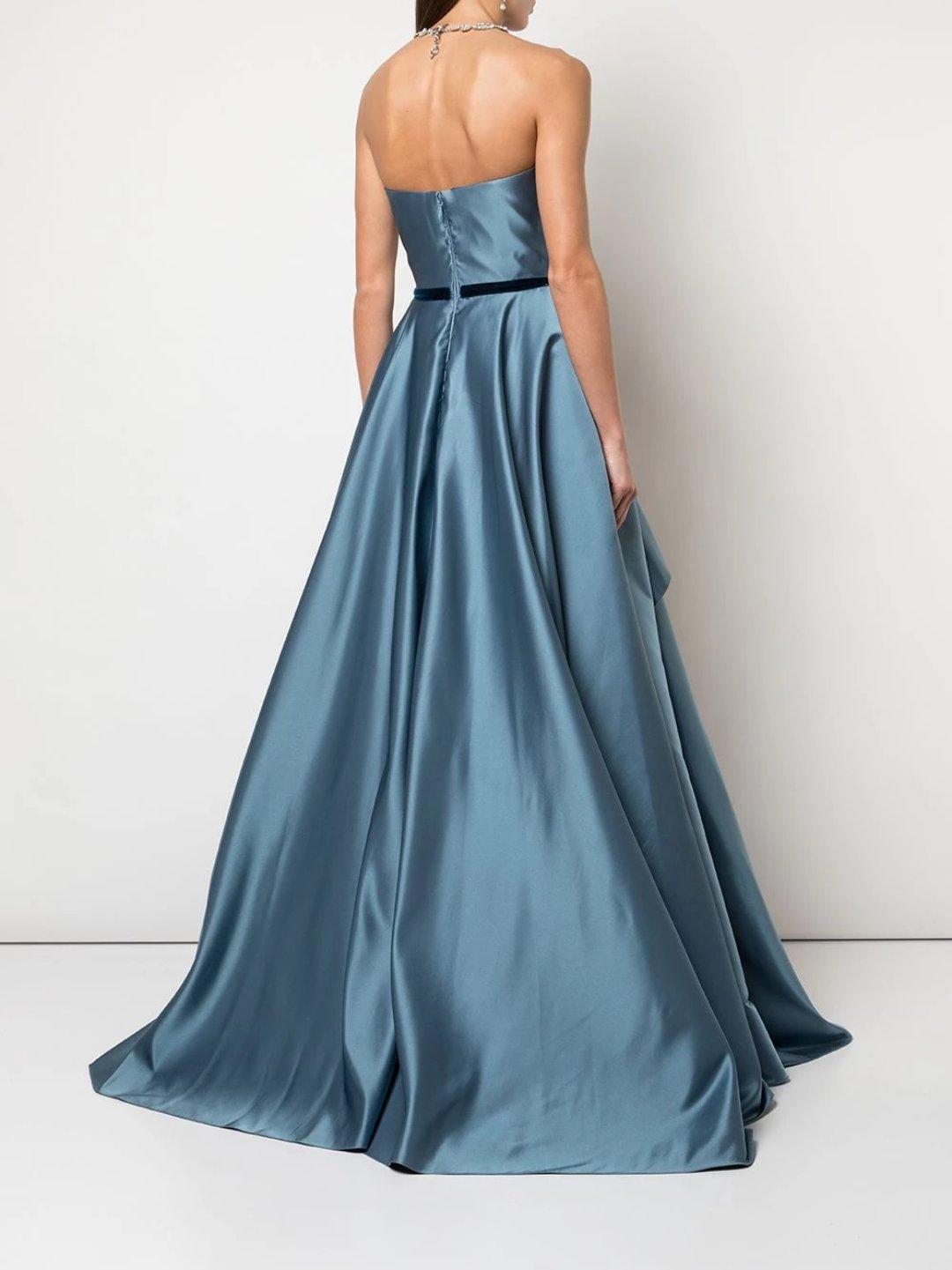 Strapless Satin Draped Ball Gown