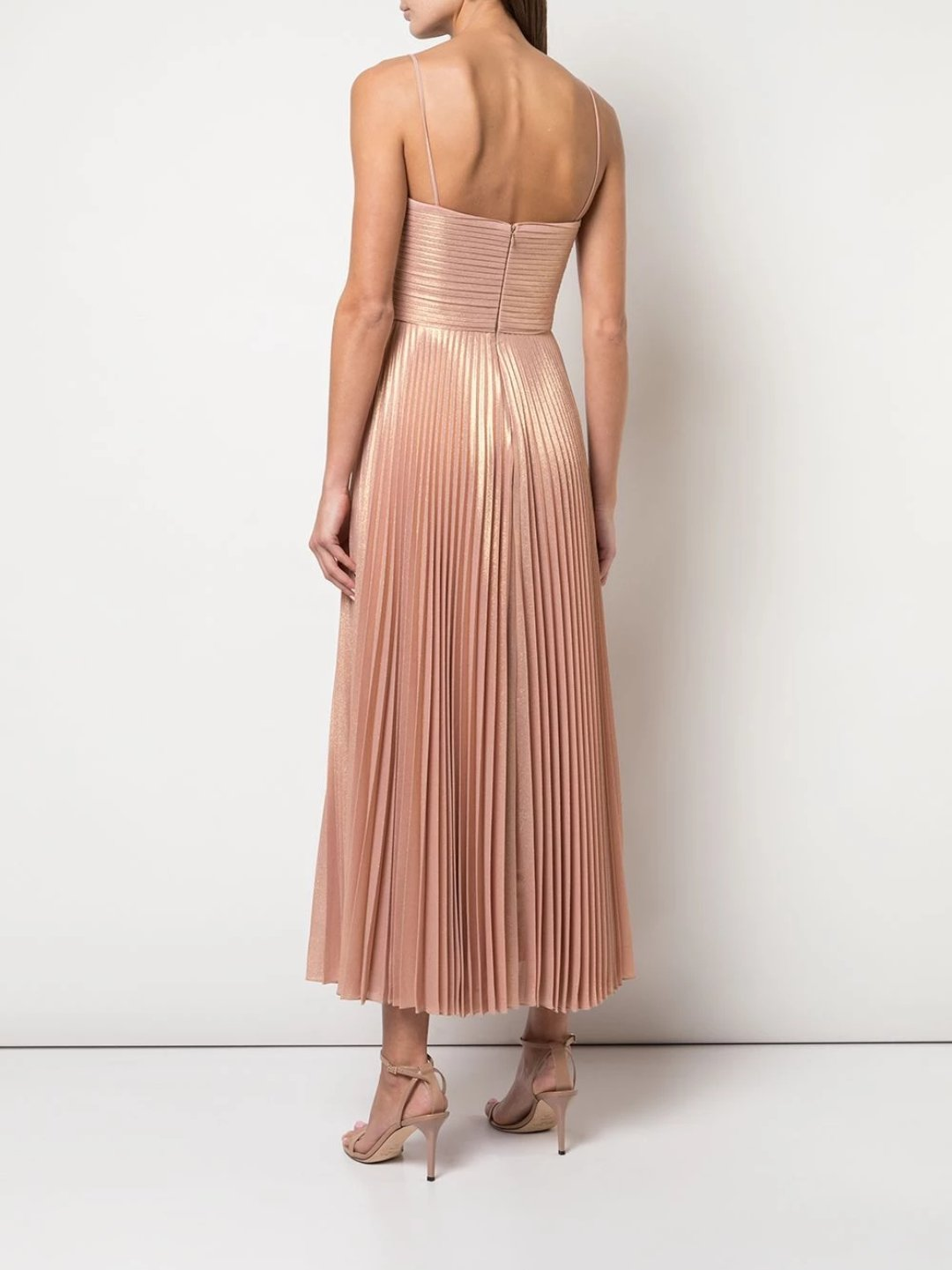 Pleated Metallic Tea Length Dress