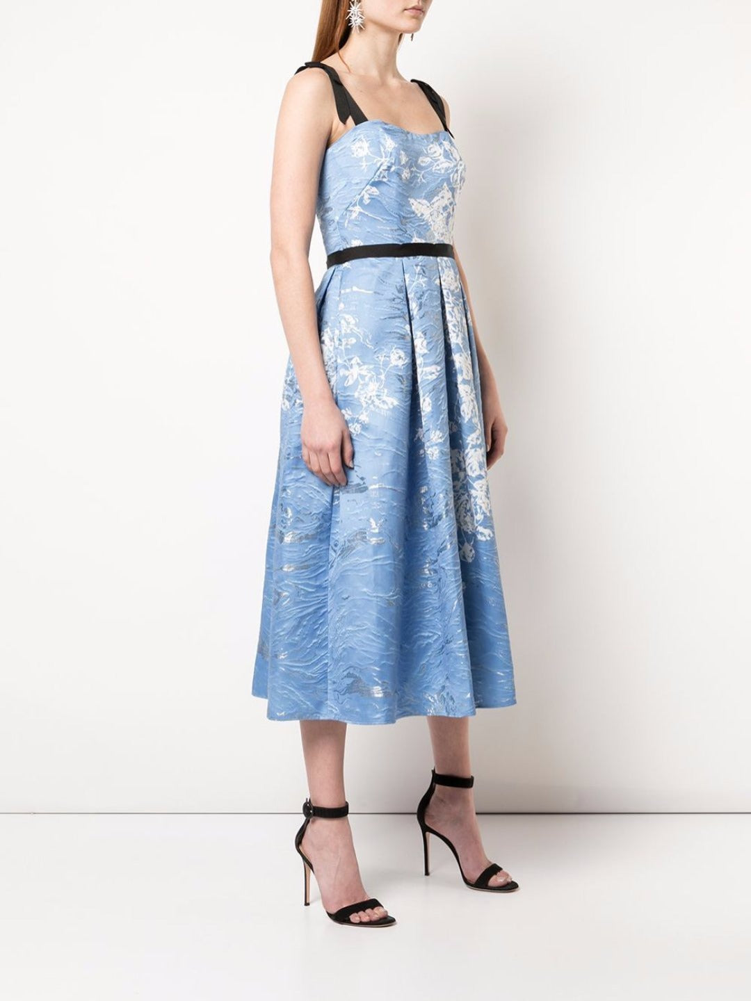 Floral Print Jacquard Tea-Length Dress