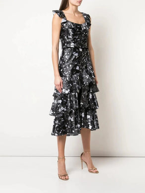 Floral Print Charm Ruffle Cocktail