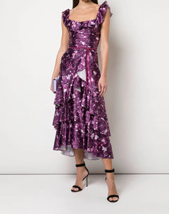 Load image into Gallery viewer, Floral Print Charm Ruffle Cocktail Dress