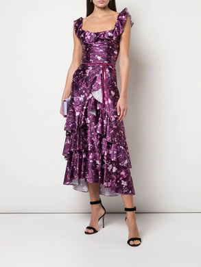 Floral Print Charm Ruffle Cocktail Dress