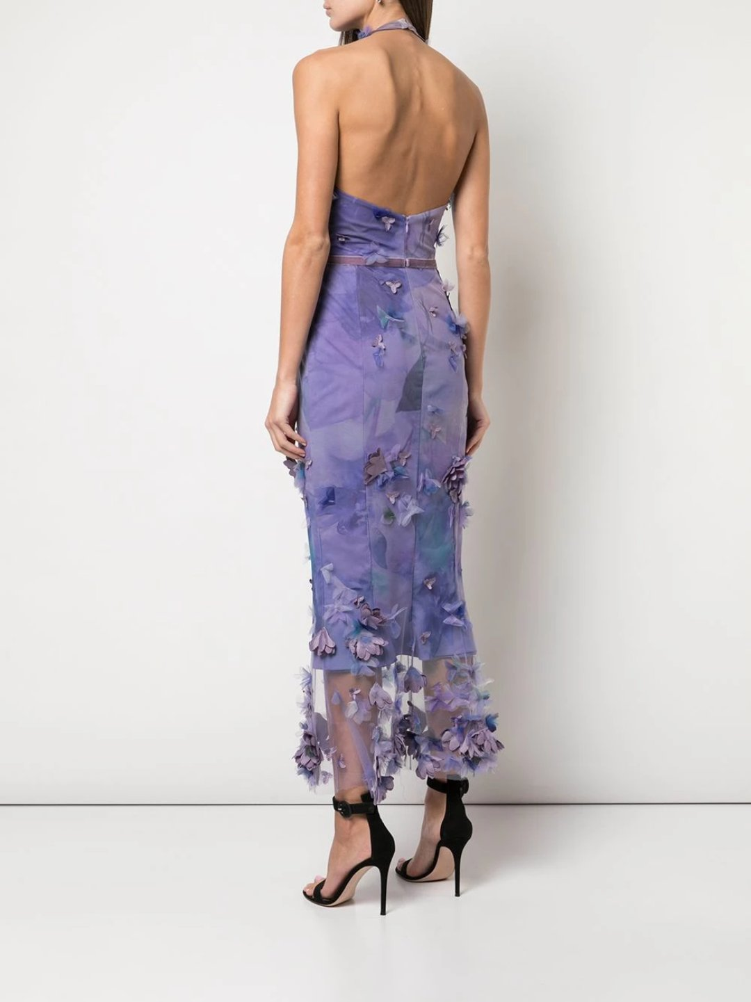 Halter 3D Floral Print Cocktail Dress