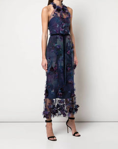 Load image into Gallery viewer, Halter 3D Floral Print Cocktail Dress