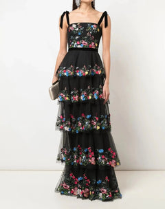 Load image into Gallery viewer, 5-Tier 3D Embroidered Tulle Gown
