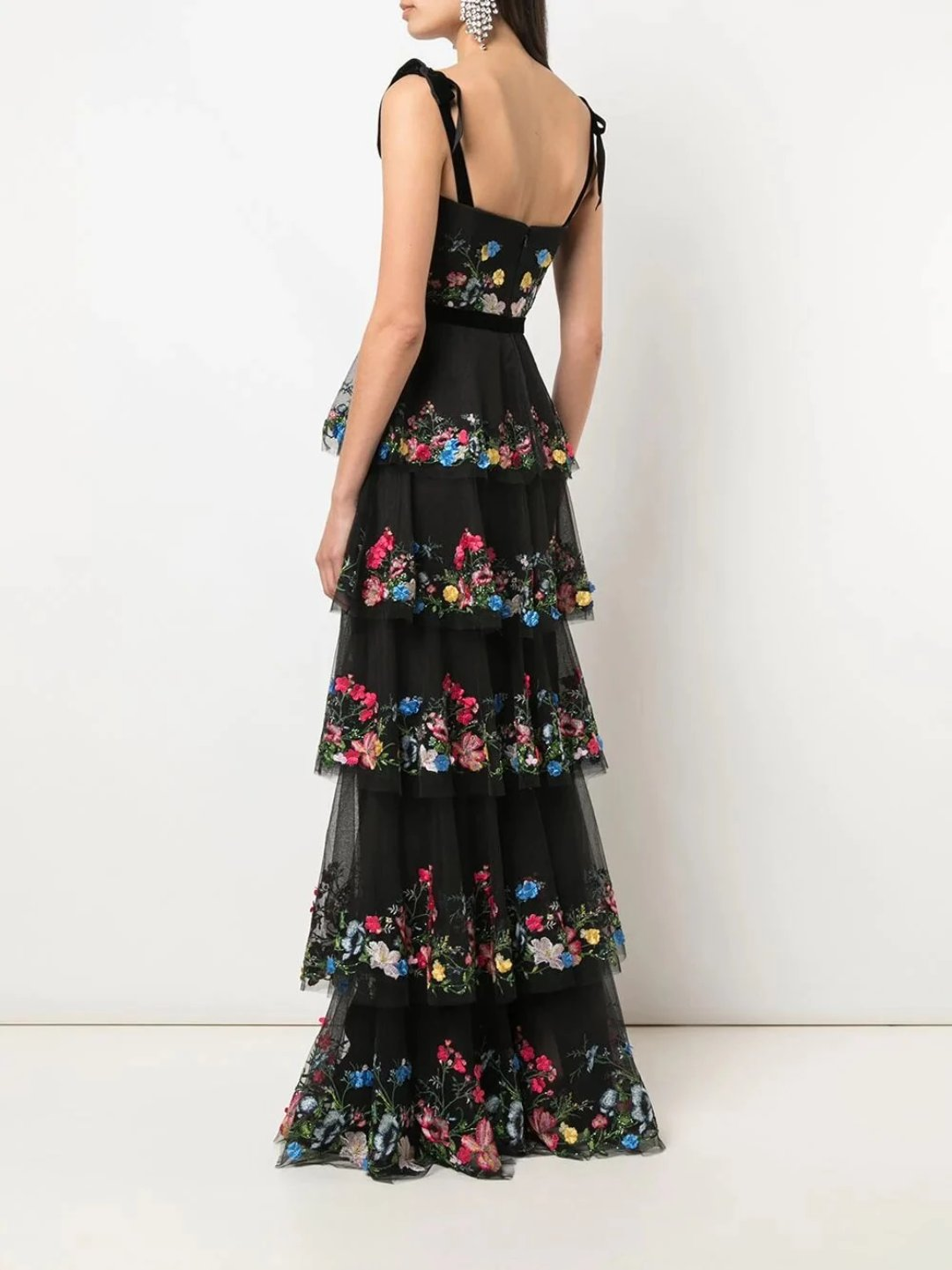 5-Tier 3D Embroidered Tulle Gown