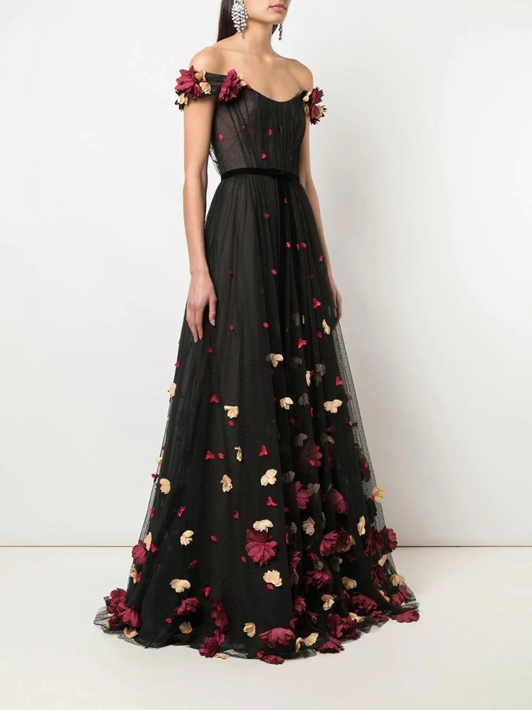 3D Floral Flocked Dot Gown