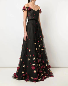 Load image into Gallery viewer, 3D Floral Flocked Dot Gown
