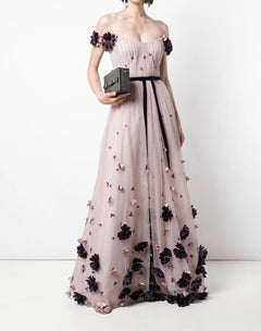 Load image into Gallery viewer, Off Shoulder 3D Floral Flocked Dot Gown