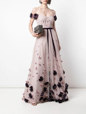 Off Shoulder 3D Floral Flocked Dot Gown