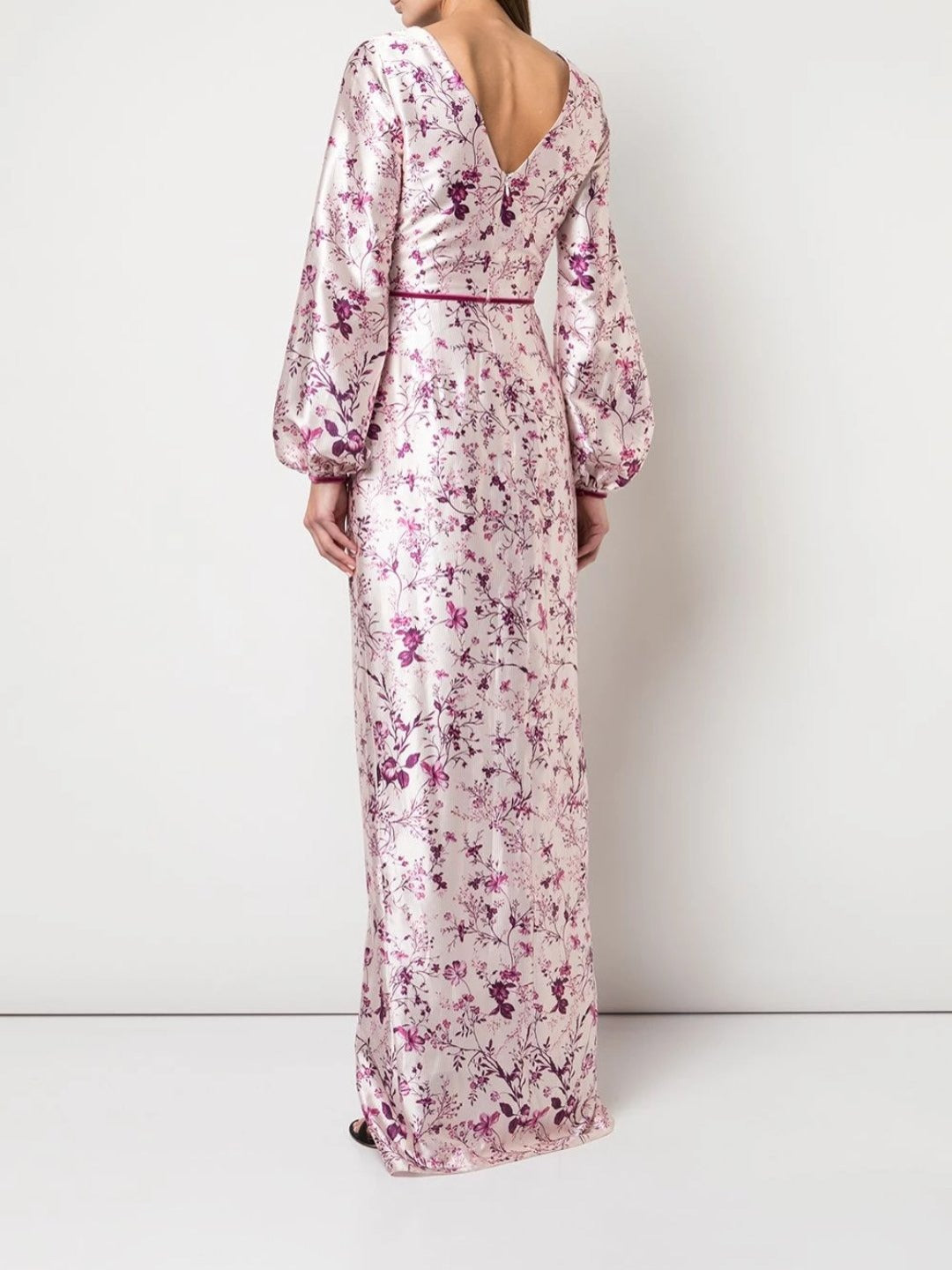 Bishop Sleeve Floral Print Charm Gown