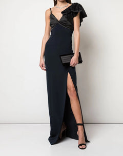 Load image into Gallery viewer, Asymmetric Satin Drape Crepe Gown