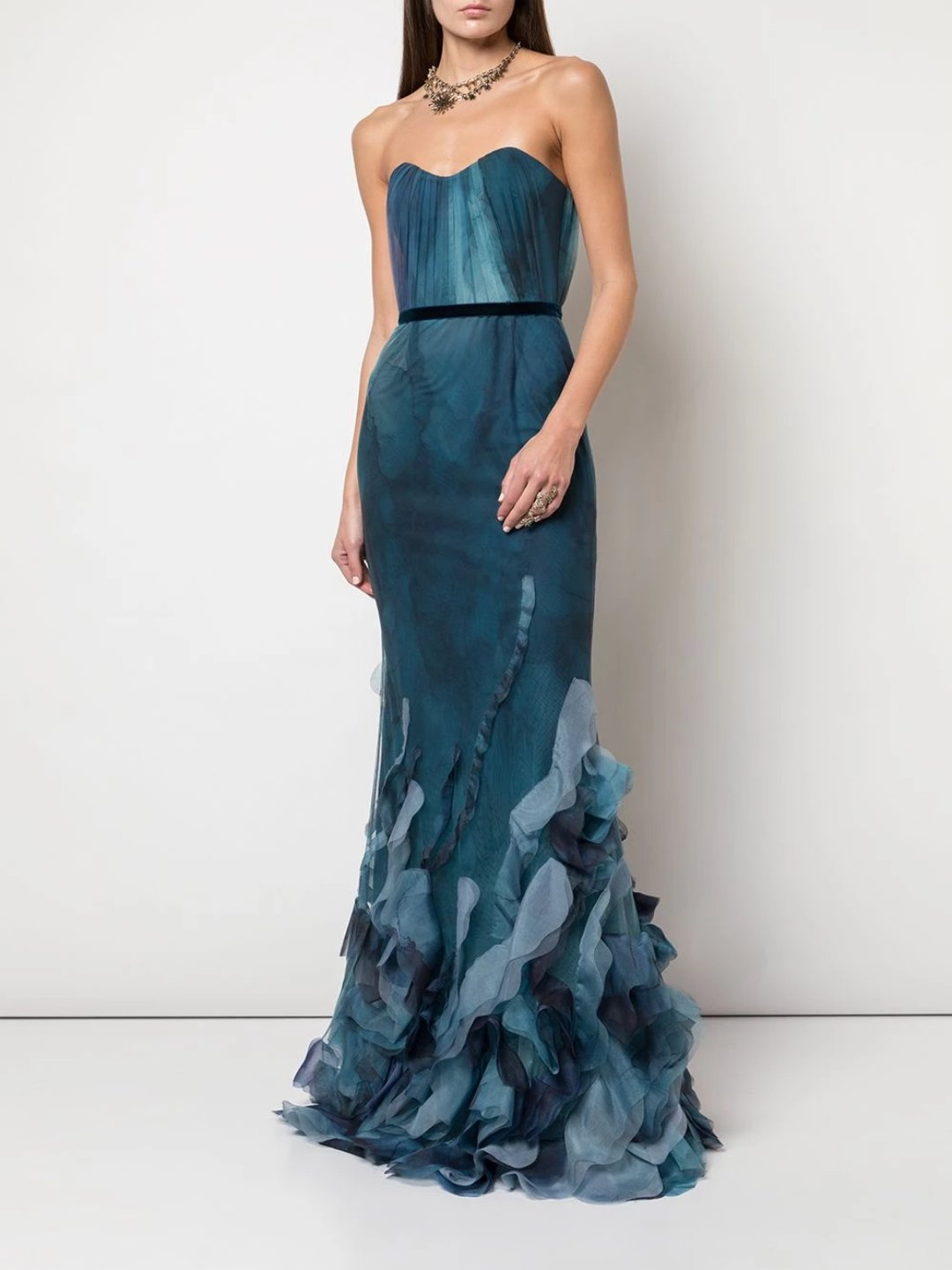 Strapless Printed Texture Fit Flare Gown