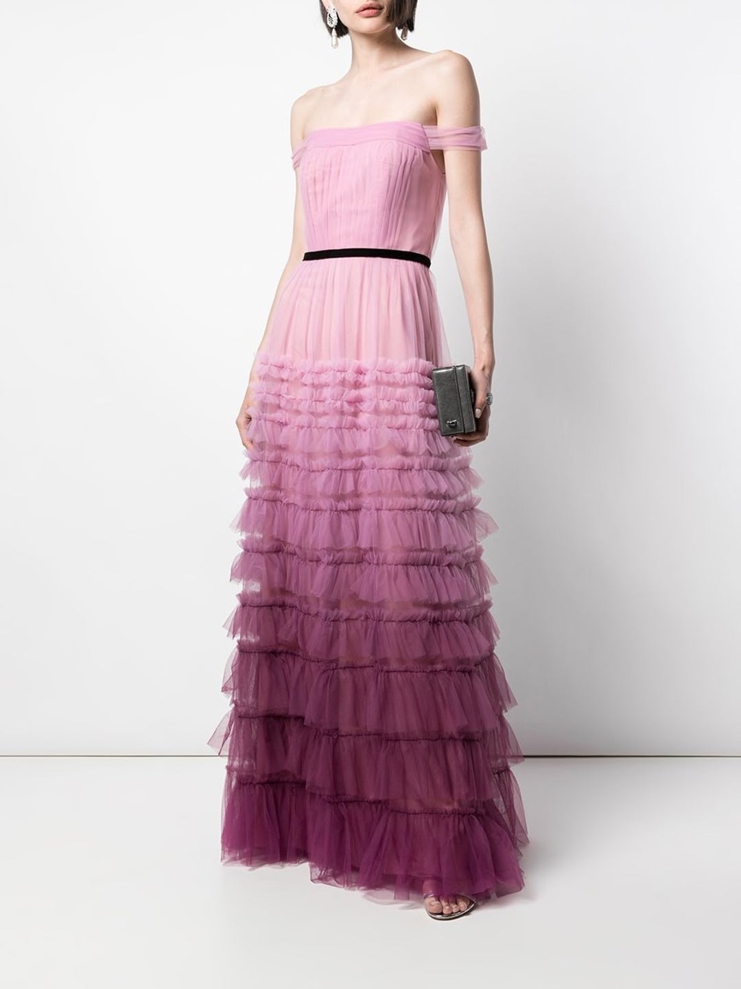 Ombre Tiered Textured Gown
