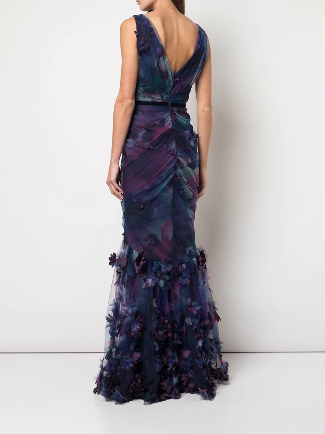 Fit-to-Flare 3D Floral Print Gown