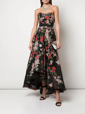 Strapless Floral Hi-Low Gown