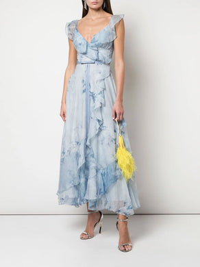 Print Chiffon Lace Ruffle Tea Length