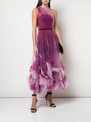 One Shoulder Draped Bodice Textured Dress