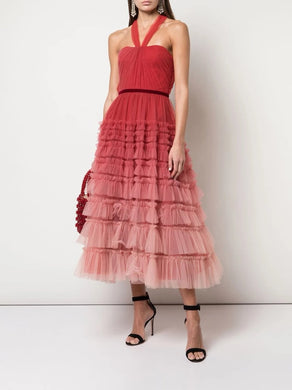 Halter Neck Ombre Tiered Textured Tea Length