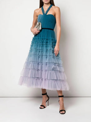 Halter Neck Ombre Textured Dress