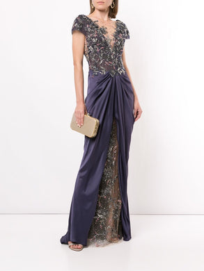 Embellished Satin Draped Evening Gown