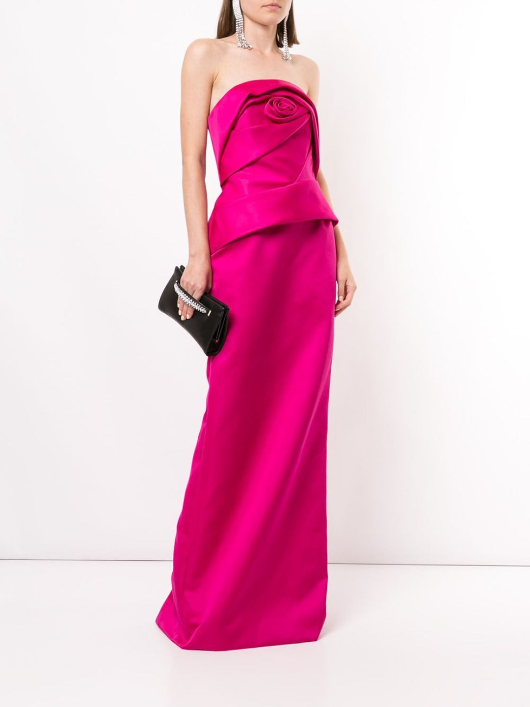 Strapless Satin Column Evening Gown