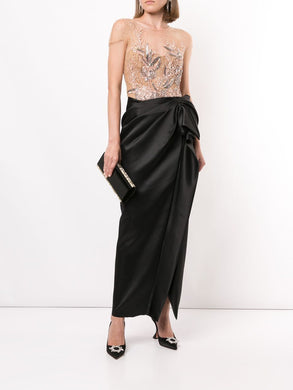 Embellished Draped Evening Gown