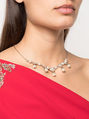 Faux-pearl embellished necklace