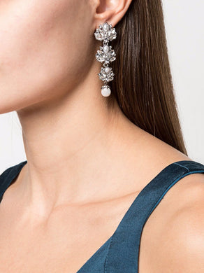 Crystal Embellished Linear Drop Earrings